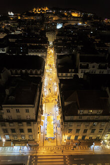 Portugal, Lisboa, Baixa, elevated view to illuminated Rua de Santa Justa at night - BIF000102