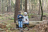 Germany, North Rhine-Westphalia, Moenchengladbach, Scene from fairy tale Hansel and Gretel, brother and sister eating bread in the woods - CLPF000021