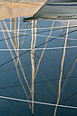 Switzerland, Altnau, Marina, reflections of sailing masts - SH001148