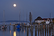 Germany, Baden-Wurttemberg, Bodman, Marina under full moon - SH001153