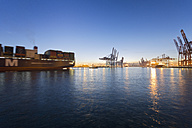 Germany, Hamburg, Parkhafen, harbour, Elbe, container ship - MS003126
