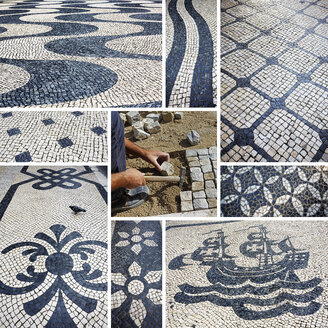 Portugal, Lisbon, cobblestones, mosaics - BI000169
