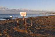 Turkey, Anamur, Sign for the clutch of loggerhead sea turtles (Caretta caretta) on beach - SIE004808