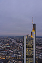 Germany, Hesse, Frankfurt, Commerzbank Tower at financal district in the evening - PA000060