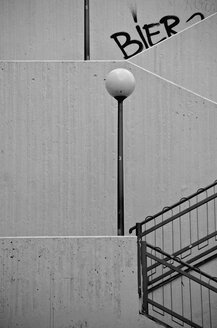 Germany, Hesse, Wiesbaden, Abstract stairs with lamp - MHF000242