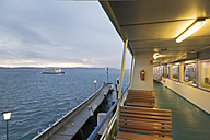 Germany, Lake Constance, Empty seats on a car ferry - MS003156