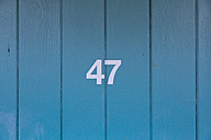 Germany, Number on a wooden door at a bath - MSF003145
