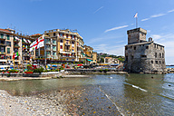 Italy, Liguria, Rapallo, Hotels and castle by the sea - AM001433
