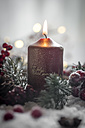 Lighted Christmas candle, fir branch and  artificial snow - SARF000161