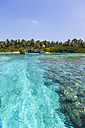 Maledives, South-Male-Atoll, Embudu, boats in front of the island - AM001422