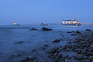 Germany, Mecklenburg-Western Pomerania, Rugia, view to sea bridge at Baltic seaside resort Sellin at blue hour - PA000088