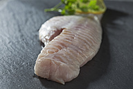 Fish fillet of redfish with slices of lime on grey background - CSF020556
