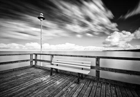 Germany, Mecklenburg-Western Pomerania, Usedom, pier with telescope, long exposure - WA000016