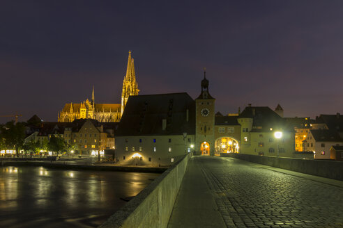Germany, Bavaria, Regensburg, Saint Peter's Cathedral and stone bridge at night - SJF000078