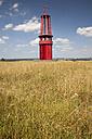 Germany, North Rhine-Westphalia, Moers, Halde Rheinpreussen, Art work mining lamp - WI000232