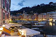 Italy, Liguria, Portofino, Boats in harbour at blue hour - AM001505