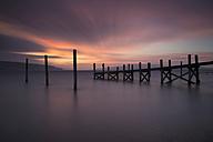 Germany, Baden-Wuerttemberg, Reichenau Island, wooden boardwalk at twilight - EL000726