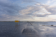 Great Britain, England, Northumberland, Holy Island, Lindisfarne, road at high tide - PA000141