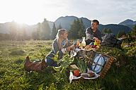 Austria, Salzburg State, Altenmarkt-Zauchensee, couple having a picnic on alpine meadow - HHF004728