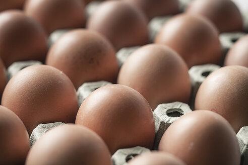 Brown eggs on egg carton, close-up - SBDF000364