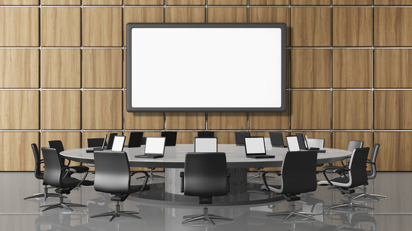 Conference room with projection screen, illustration - UWF000004
