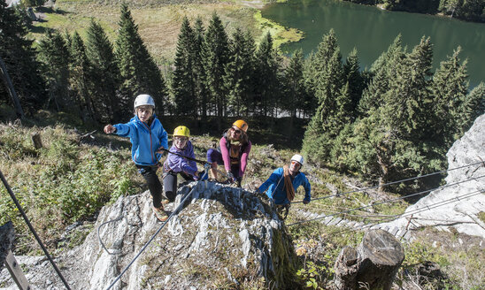Austria, Salzburg State, Altenmarkt-Zauchensee, family at via ferrata - HHF004707