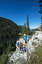 Austria, Salzburg State, Altenmarkt-Zauchensee, family at via ferrata - HHF004715