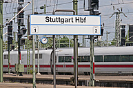 Germany, Baden-Wuerttemberg, Stuttgart, sign and ICE at main station - WG000166