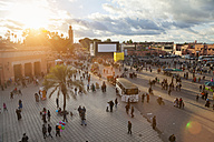 Morocco, Marrakech, view to Djemaa el-Fna square at sunset - HSIF000319