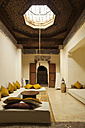 Morocco, Marrakech, interior of historic Riad Dar el Qadi renovated as a hotel - HSI000322