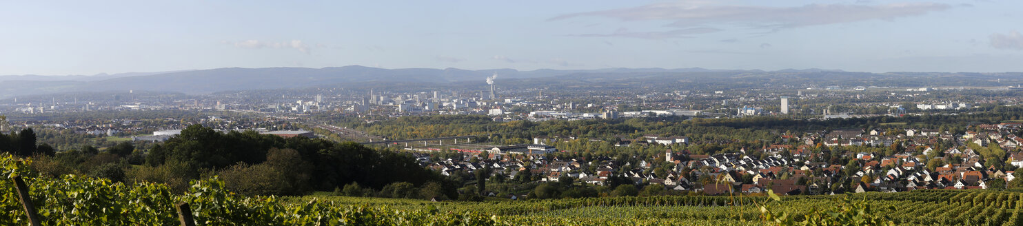 Border triangle Germany, Switzerland and France seen from Oetlingen, Baden-Wuerttemberg - DHL000209