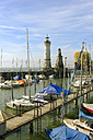 Germany, Bavaria, Swabia, Lake Constance, harbor with lighthouse and Bavarian lion - LB000452