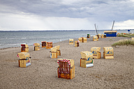 Germany,  Schleswig-Holstein, Heiligenhafen, beach chairs at beach - WI000247