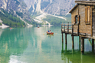 Italy, Trentino-Alto Adige, Alto Adige, Puster Valley, wooden hut at Lake Prags - MJ000453