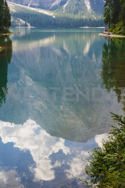 Italy, Trentino-Alto Adige, Alto Adige, Puster Valley, water reflection at Lake Prags - MJ000455