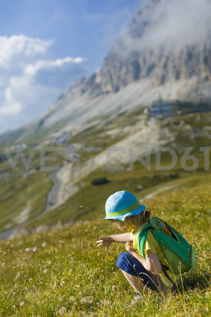 Italy, Province of Belluno, Veneto, Auronzo di Cadore, little boy crouching on alpine meadow near Tre Cime di Lavaredo - MJF000486 - Jana Mänz/Westend61