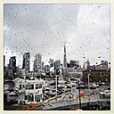 Toronto through a window with raindrops, view on the skyline of Toronto, Canada, Ontario, Toronto - SEF000162