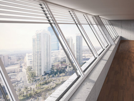 Look-out of windows at high-rise building, 3D Rendering - UWF000009