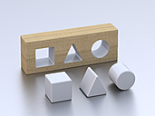 Geometric forms on white ground, 3D Rendering - UWF000012