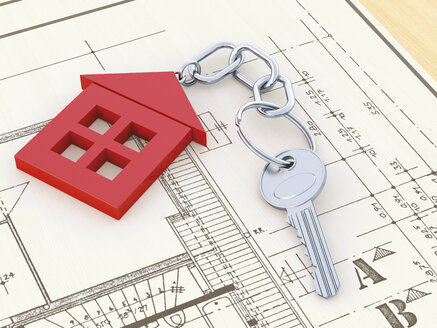 Key with red key chain formed like a house lying on construction plan, 3D rendering - UWF000014