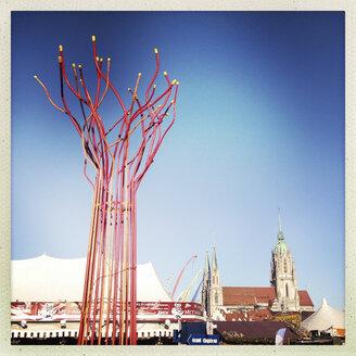 Tollwood Festival Winter 2013, art installation, St. Paul's Church, Munich, Bavaria, Germany - GS000611