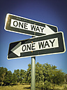 Two One Way Signs pointing in opposite directions - ABAF001154