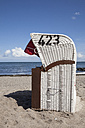 Germany, Schleswig-Holstein, Hohwacht, Hohwacht Bay, beach chair at beach - WIF000284