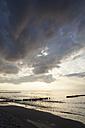Germany, Mecklenburg-Western Pomerania, Graal-Mueritz, part of beach at evening light - WIF000297