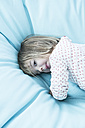 Little girl on light blue beanbag - LVF000440