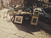 Picture frames on an antique market, Palermo, Sicily, Italy - MEA000103