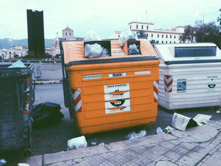 Overflowing trash cans in the Street, Palermo, Sicily, Italy - MEA000020