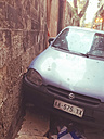 Car standing very close to a wall, Palermo, Sicily, Italy - MEAF000044
