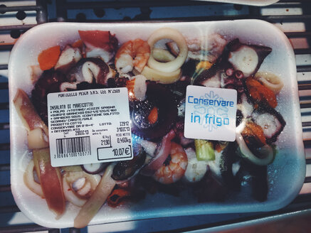 Sea food in supermarket packaging, Palermo, Sicily, Italy - MEA000042