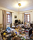 Austria, living room of a person with hoarding disorder - DIS000330